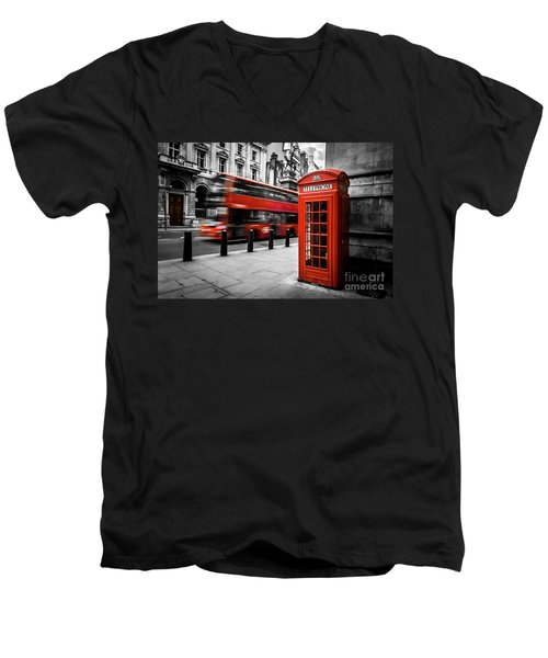 London Bus And Telephone Box In Red Men's V-Neck T-Shirt