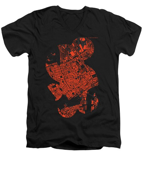London Engraving Map Men's V-Neck T-Shirt by Jasone Ayerbe- Javier R Recco