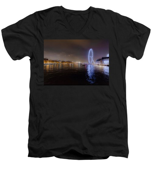 London Eye At Night Men's V-Neck T-Shirt by Patrick Kain