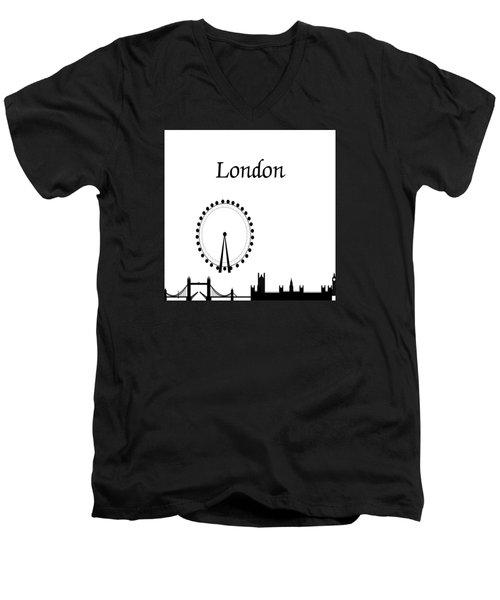 London Skyline Outline Men's V-Neck T-Shirt