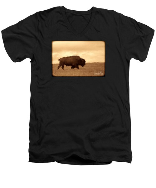 Lone Bison  Men's V-Neck T-Shirt by American West Legend By Olivier Le Queinec