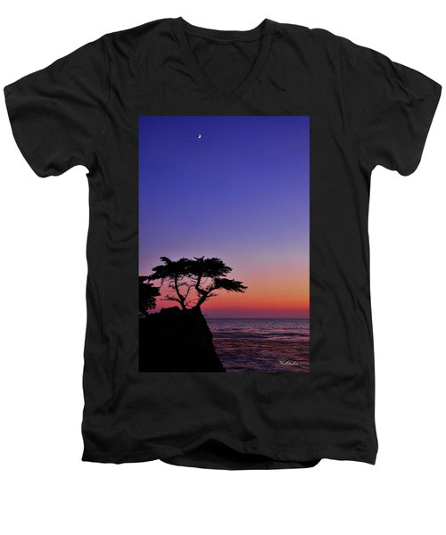 Men's V-Neck T-Shirt featuring the photograph Lone Cypress Tree At Pebble Beach by Tim Kathka