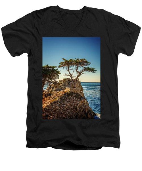 Lone Cypress Tree Men's V-Neck T-Shirt by James Hammond