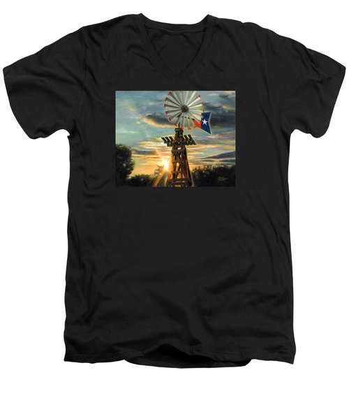 Lone Star Sky Men's V-Neck T-Shirt by Doug Kreuger