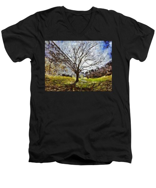Men's V-Neck T-Shirt featuring the painting Lonely Tree by Derek Gedney
