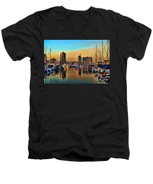 Men's V-Neck T-Shirt featuring the photograph Long Beach Harbor by Mariola Bitner