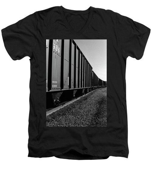 Men's V-Neck T-Shirt featuring the photograph Long Black Train by Tara Lynn