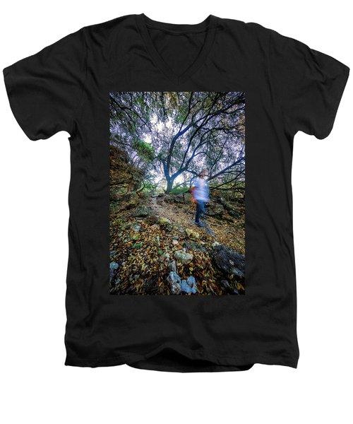 Long Exposure Peddernales Falls State Park Hike Men's V-Neck T-Shirt by Micah Goff