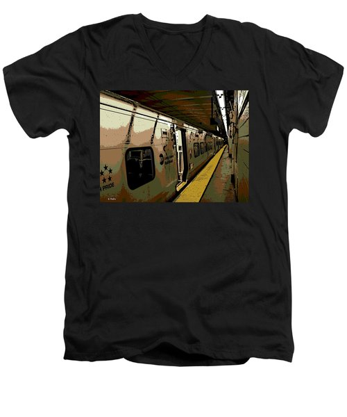 Long Island Railroad Men's V-Neck T-Shirt by George Pedro