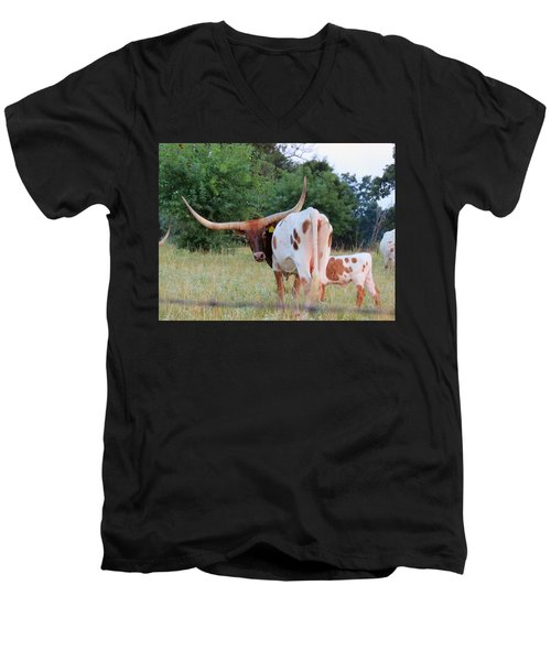 Longhorn Cattle Men's V-Neck T-Shirt