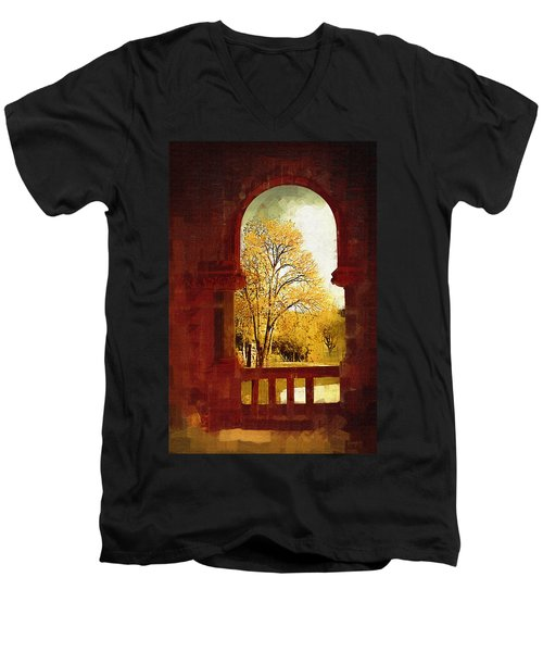 Men's V-Neck T-Shirt featuring the digital art Lookin Out by Holly Ethan