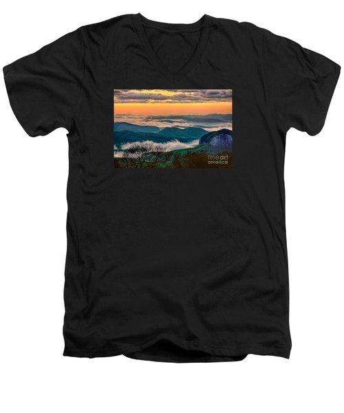 Looking Glass In The Blue Ridge At Sunrise Men's V-Neck T-Shirt by Dan Carmichael