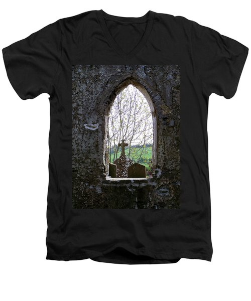 Looking Out Fuerty Church Roscommon Ireland Men's V-Neck T-Shirt