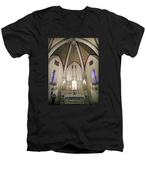 Men's V-Neck T-Shirt featuring the photograph Loretto Chapel Santa Fe by Kurt Van Wagner