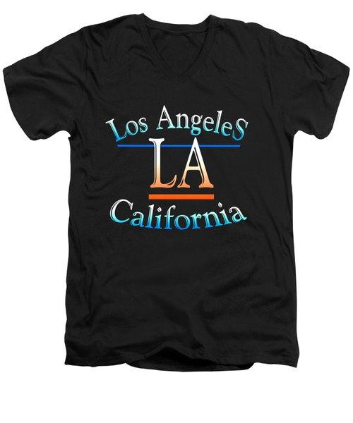 Los Angeles California Tshirt Design Men's V-Neck T-Shirt by Art America Gallery Peter Potter