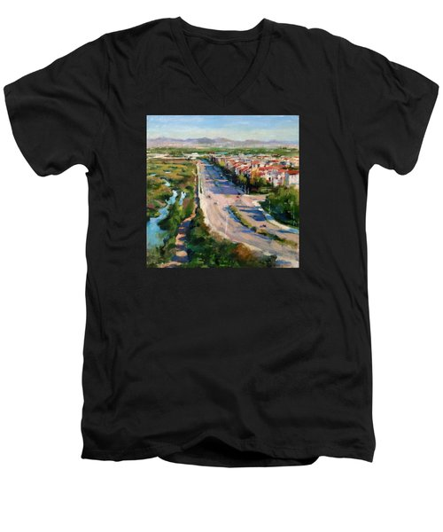 Los Angeles - Playa Vista From South Bluff Trail Road Men's V-Neck T-Shirt