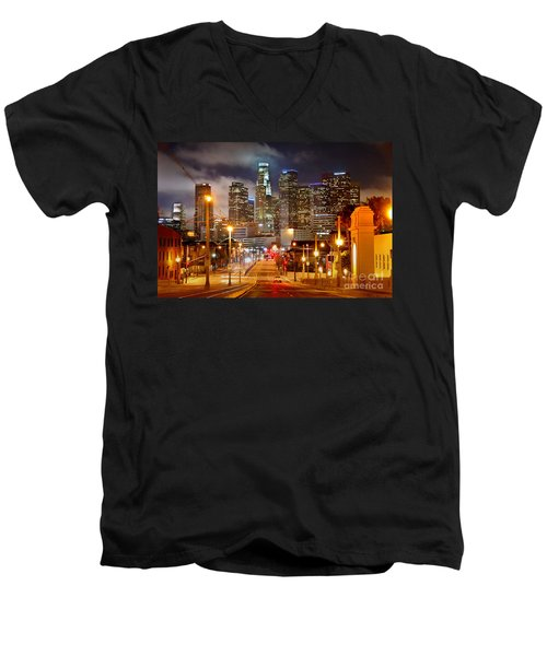 Los Angeles Skyline Night From The East Men's V-Neck T-Shirt