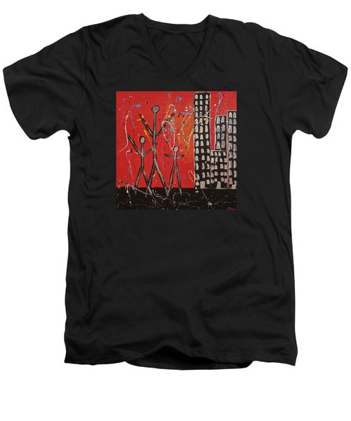 Men's V-Neck T-Shirt featuring the painting Lost Cities 13-001 by Mario Perron
