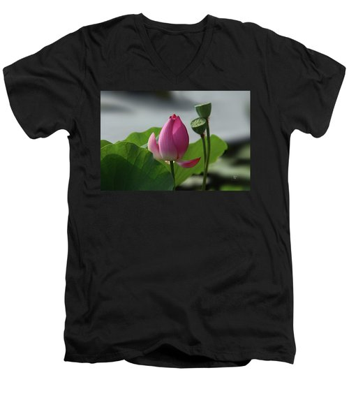 Lotus Flower In Pure Magenta Men's V-Neck T-Shirt by Yvonne Wright