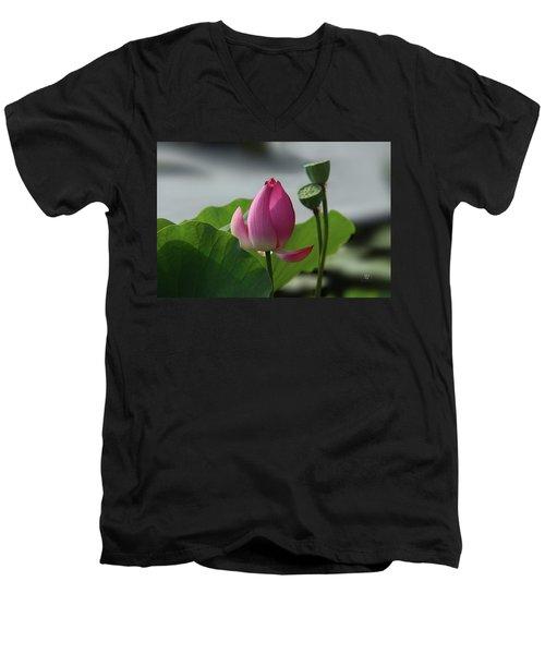 Lotus Flower In Pure Magenta Men's V-Neck T-Shirt