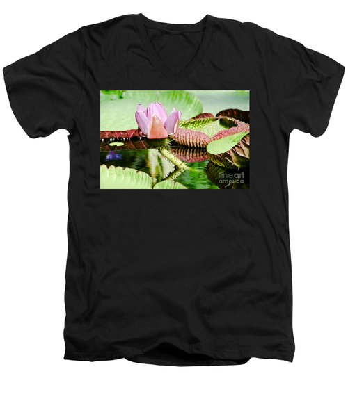 Men's V-Neck T-Shirt featuring the painting Lotus Flower In Water by Yurix Sardinelly
