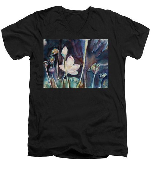 Men's V-Neck T-Shirt featuring the painting Lotus Study II by Xueling Zou