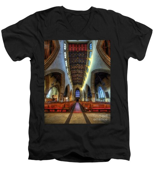Loughborough Church - Nave Vertorama Men's V-Neck T-Shirt
