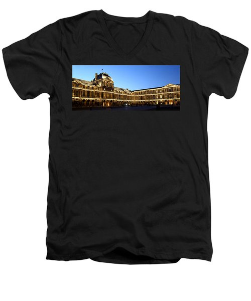 Men's V-Neck T-Shirt featuring the photograph Louvre At Night 1 by Andrew Fare