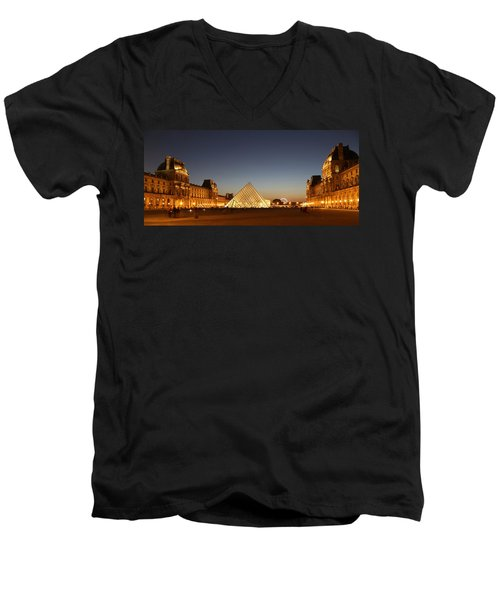 Men's V-Neck T-Shirt featuring the photograph Louvre At Night 2 by Andrew Fare
