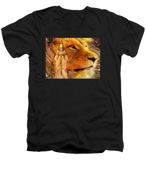 Men's V-Neck T-Shirt featuring the digital art Love 444 Cecil by Barbara Tristan