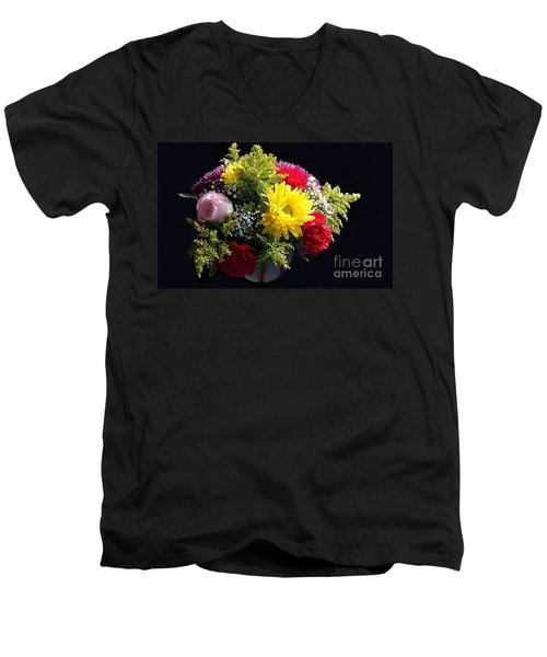 Love Bouquet Men's V-Neck T-Shirt by Becky Lupe
