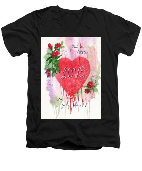 Men's V-Neck T-Shirt featuring the painting Love In Your Heart by Marilyn Smith