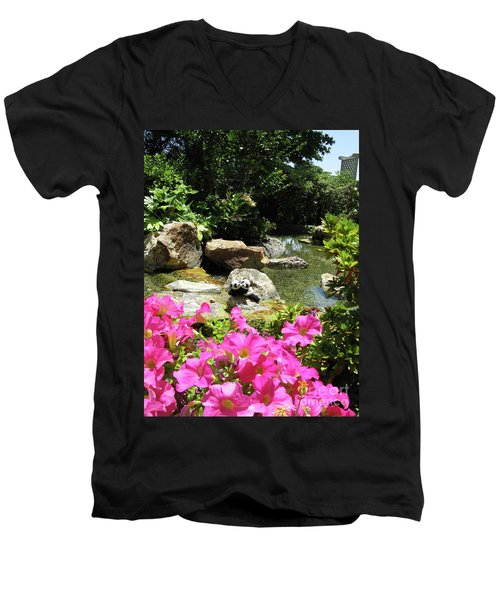 Men's V-Neck T-Shirt featuring the photograph Love On The Rocks- Los Angeles- Pandas by Ausra Huntington nee Paulauskaite