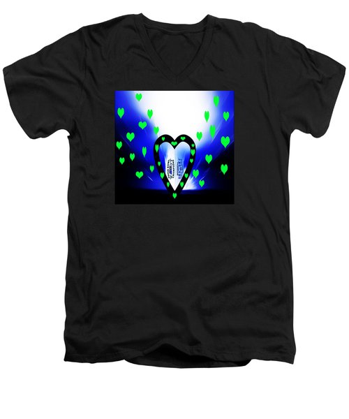 Men's V-Neck T-Shirt featuring the photograph Loving The Seattle Seahawks by Eddie Eastwood
