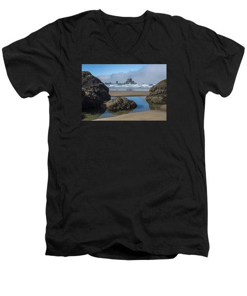 Low Tide At Ecola Men's V-Neck T-Shirt