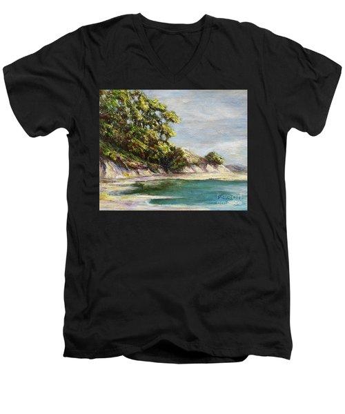Low Tide Beach Men's V-Neck T-Shirt by Danuta Bennett