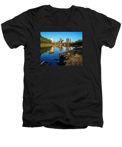Men's V-Neck T-Shirt featuring the photograph Low Water  by Alan Raasch