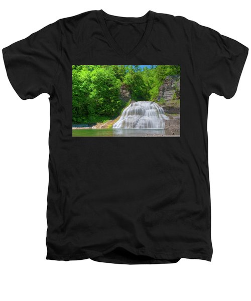 Men's V-Neck T-Shirt featuring the photograph Lower Falls 0485 by Guy Whiteley