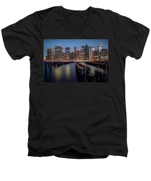 Lower Manhattan Skyline Men's V-Neck T-Shirt by Eduard Moldoveanu
