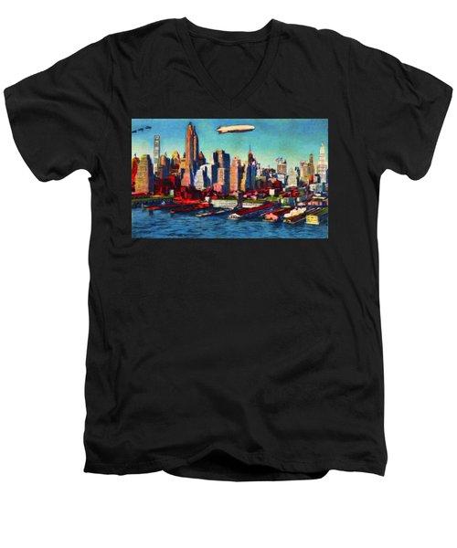 Lower Manhattan Skyline New York City Men's V-Neck T-Shirt