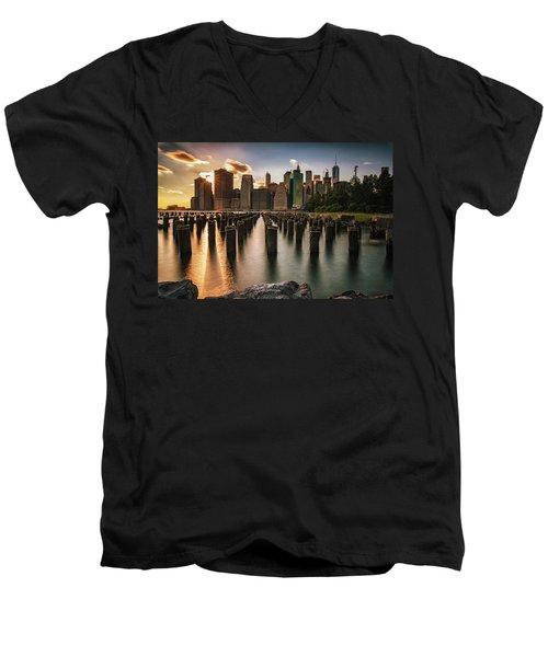 Lower Manhattan Sunset Twinkle Men's V-Neck T-Shirt
