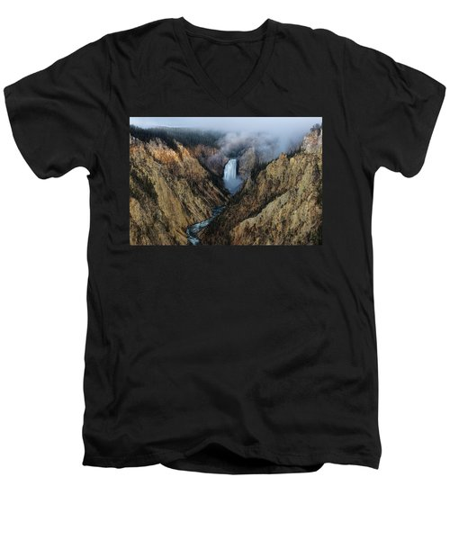 Lower Yellowstone Falls Sunrise Men's V-Neck T-Shirt
