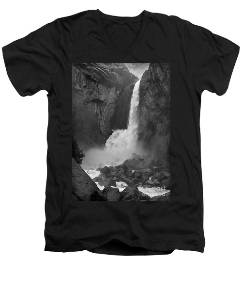 Men's V-Neck T-Shirt featuring the photograph Lower Yosemite Falls by Martin Konopacki