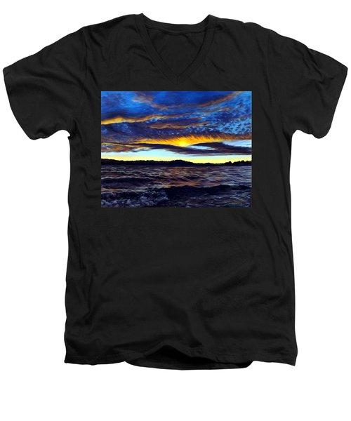 Lucerne Sunset Men's V-Neck T-Shirt by Linda Becker