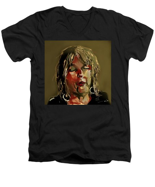 Men's V-Neck T-Shirt featuring the painting Lucinda Williams  by Jim Vance