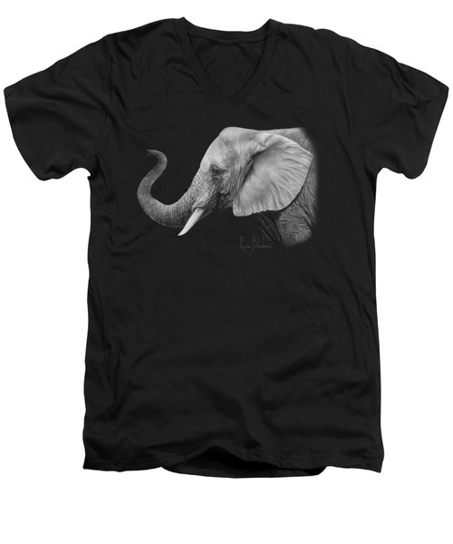 Lucky - Black And White Men's V-Neck T-Shirt by Lucie Bilodeau