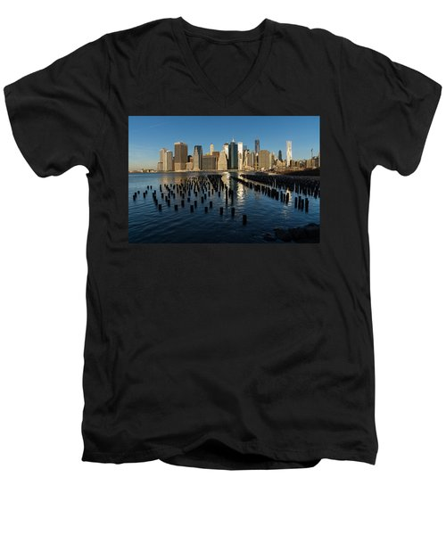 Luminous Blue Silver And Gold - Manhattan Skyline And East River Men's V-Neck T-Shirt