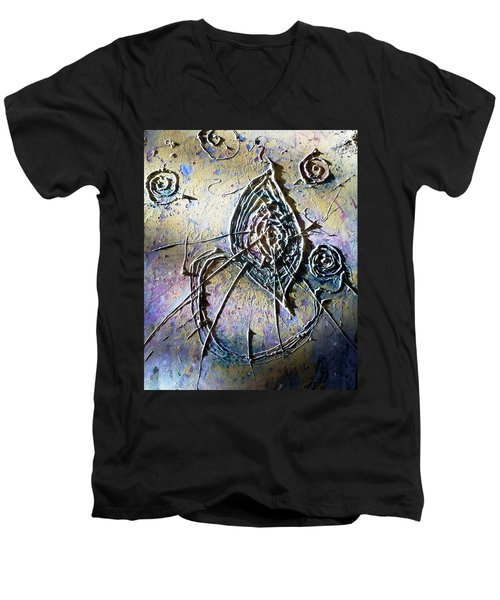 Men's V-Neck T-Shirt featuring the painting Luminous  by 'REA' Gallery