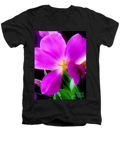 Luminous Tulips Men's V-Neck T-Shirt by Tim Townsend