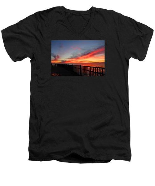 Men's V-Neck T-Shirt featuring the photograph Luna Pier by Michael Rucker